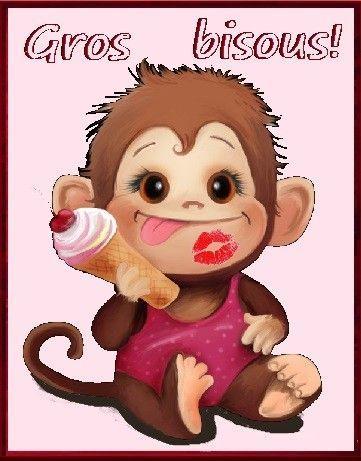Gros bisous petit singe qui mange une glace - Petit singe rigolo ...