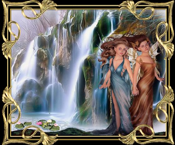 Cascade avec deux fées