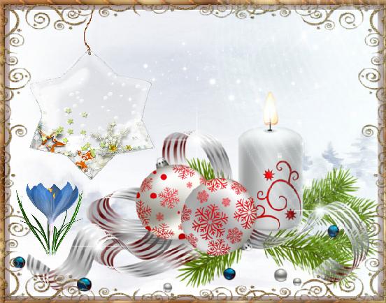 bougie boules crocus paysage neige. Black Bedroom Furniture Sets. Home Design Ideas