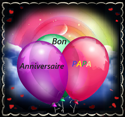 Bon Anniversaire Papa Ballons Fond Arc En Ciel