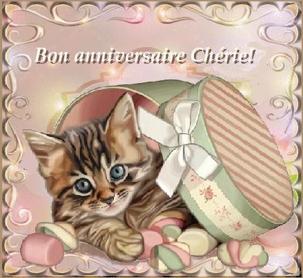 Bon Anniversaire Chérie Boite Bonbons Et Chaton
