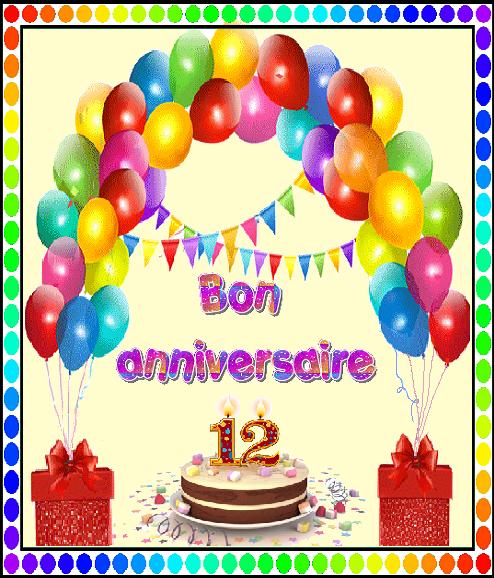 Bon Anniversaire 12 Ans Gateau Ballons Et Cadeaux