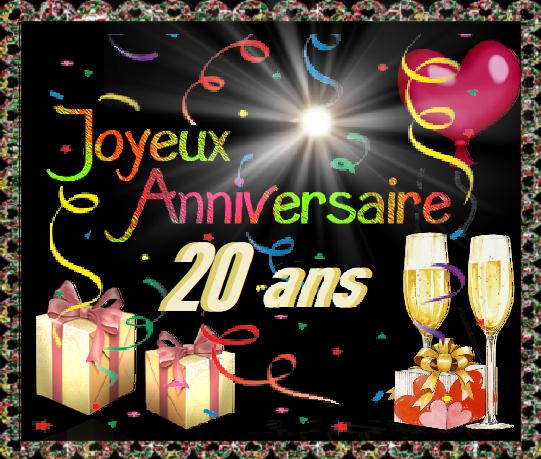 Joyeux Anniversaire 20 Ans Champagne Et Cadeaux