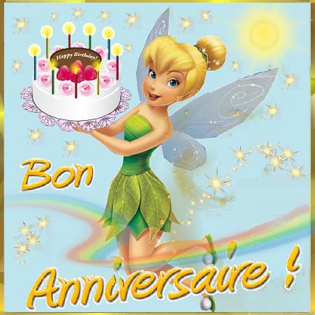 Bon anniversaire : Fée Clochette et gâteau