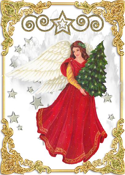 Ange de no l robe rouge et sapin for Robe de noel rouge