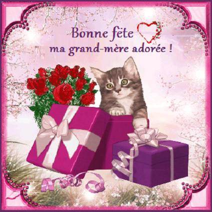 Bonne f te ma grand m re ador e chat cadeaux fleurs - Date fete des grands meres 2017 ...