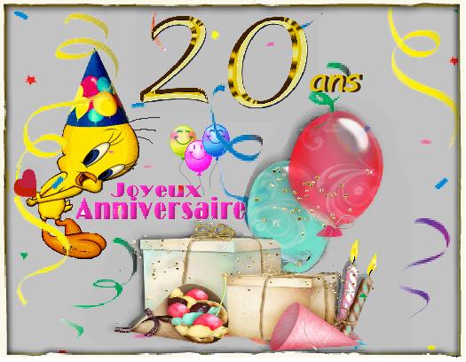 20 Ans Anniversaire Png.20 Ans Joyeux Anniversaire Titi Et Ballons