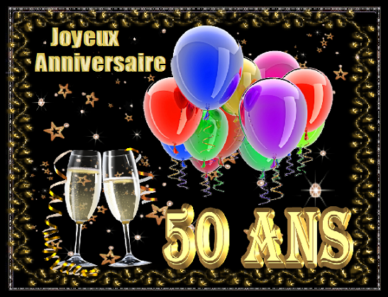 50 ans joyeux anniversaire ballons coupes champagne. Black Bedroom Furniture Sets. Home Design Ideas