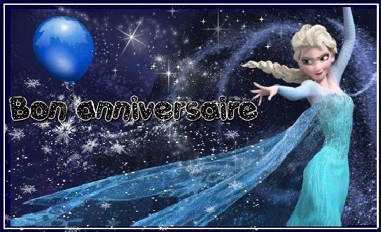Joyeux Anniversaire Reine Des Neiges Avec Ballon Et Flocons