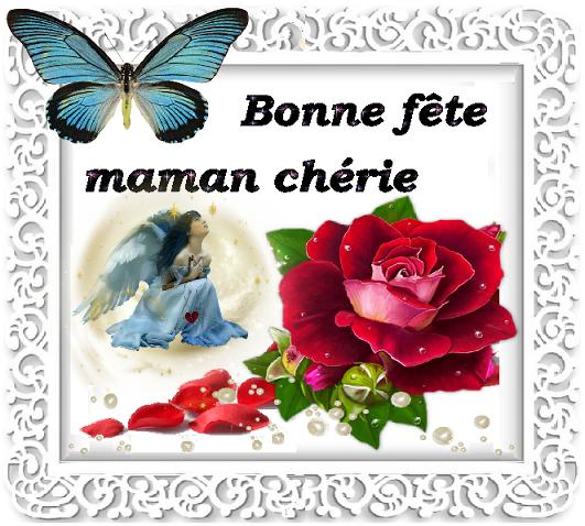 Bonne f te maman ch rie ange perles roses et papillon - Bonne fete cheri ...