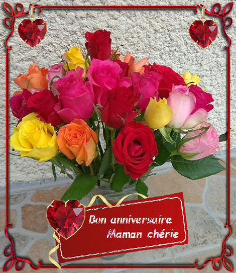 Bon Anniversaire Maman Bouquet De Roses Multicolores